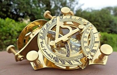 Maritime Brass Sundial Compass Nautical Sailor Magnetic Pocket Marine Device