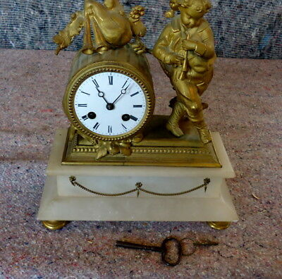"""FRENCH"" Figural Mantel Clock Stamped S.MARTI with Key, Alabaster,  c1880"