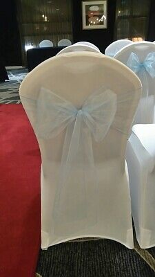 25 Light/Pale Blue Organza Chair Sashes ideal for weddings and Events