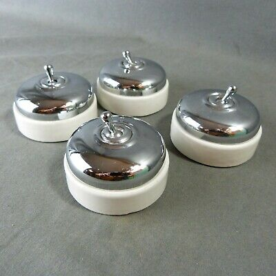 Set 4 New French Retro Electric Chrome & Porcelain Light Switches Toggle 3-Way