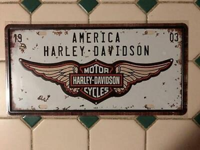 America Harley Davidson Cycles 1903 sign pressed metal man cave item Free post