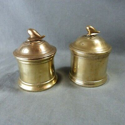Pair of French Vintage Copper Round Box with Lid