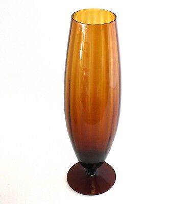 Empoli Golden Amber Optic Bullet Art Glass Vase Footed Fluted Italy