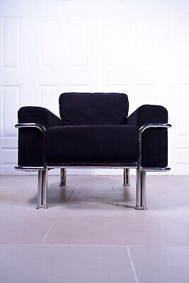 Mid Century Style Black Chrome Le Corbusier Inspired Club Tub Lounge Chair Seat