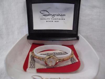 Vtg Ladies Wristwatch Ingraham Swiss Made Shock Protected Gold Tone Works