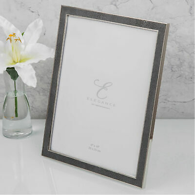 """Nickel Plated Grey Faux Shagreen Picture Photo Frame 8""""x10"""" Portrait/Landscape"""