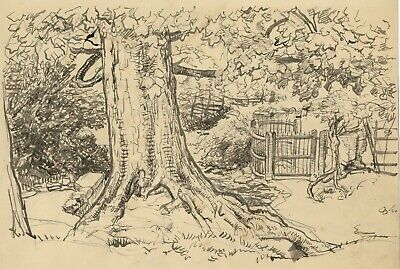 Harold Hope Read, Oak Tree by Kissing Gate - Original 1920s watercolour painting