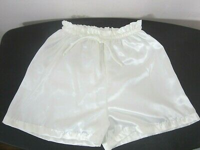 Vintage Gold Label Victoria's Secret Tap Panty Shorts Womens Small Ivory Satin