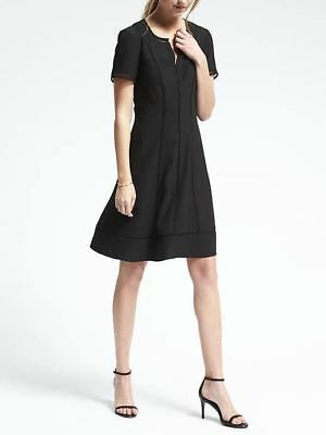 NWT Banana Republic Fit and Flare Embroidered Short Sleeve Dress Size 8 BLACK