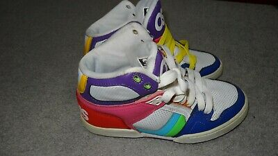 9fbee487e39d9c Osiris NYC 83 Slim Girls Shoes Size 8 White Pink Blue Purple Green slightly  used