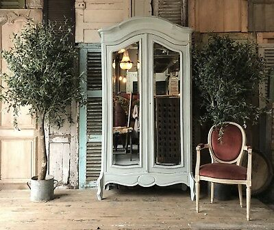Original vintage French Louis XV handpainted linen press / armoire