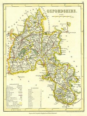 OXFORDSHIRE c1845. Dugdale / Archer. Genuine Antique Map expertly hand coloured