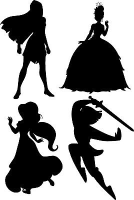 Window Wall Display Vinyl Sticker Princess Silhouette Decal Mulan Jasmine