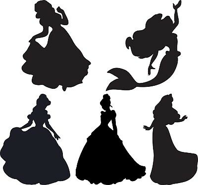 Window Wall Display Vinyl Sticker Princess Silhouette Decal Belle Aurora Snow