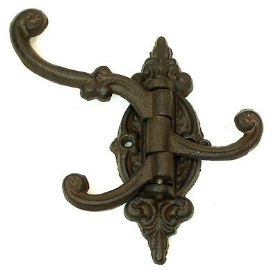 SET OF 2 Reproduction Cast Iron BROWN Swivel Wall Hook Hanger Wall Mount