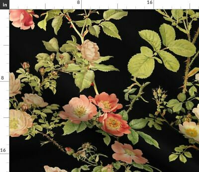Floral Floral Rose Flower Vintage Victorian Fabric Printed by Spoonflower BTY