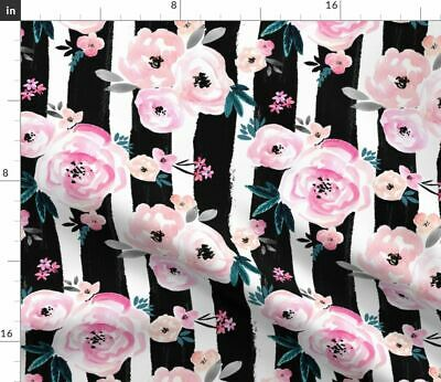 Baby Girl Baby Girl Floral Black Stripes Baby Fabric Printed by Spoonflower BTY