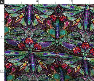 Dragonflies Dotted Damask Pointillism Modern Fabric Printed by Spoonflower BTY
