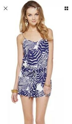 8e2a1a44183 LILLY PULITZER Deanna Romper Oh Cabana Boy Blue White SIZE XS (fits Like  XXS)