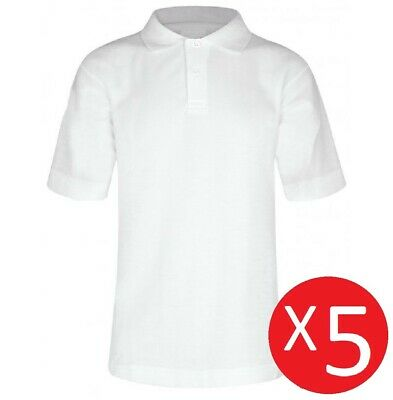 5 Pack Boys Teflon™ School Polo Shirts - White Age 3 to 16 100% Cotton Uniform