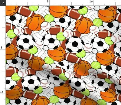 Sports Sport Tennis Football Soccer Basketball Fabric Printed by Spoonflower BTY