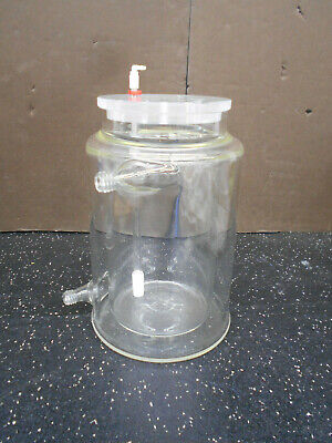 Jacketed Glass Cylindrical 1L Reaction Vessel W/ 2 Port Lid