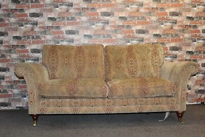 Parker Knoll Burghley Large 2 Seater Sofa in Baslow Medallion Gold Fabric (2)