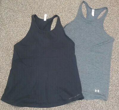 96e004be82 Lot of 2 WOMENS small UNDER ARMOUR TANK TOPS shirts HEAT GEAR loose ACTIVE  WEAR