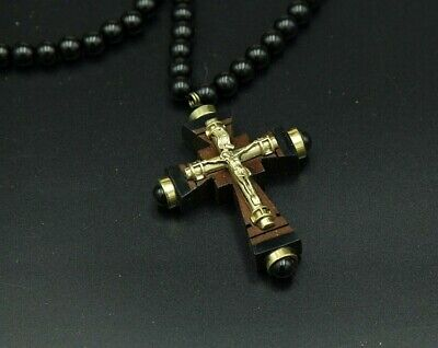 Wooden stone Cross Necklace Pendant Chain crucifix Armenian Jesus bronze