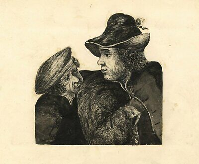 Two Men in Rembrandtesque Hats - Original 19th-century watercolour painting