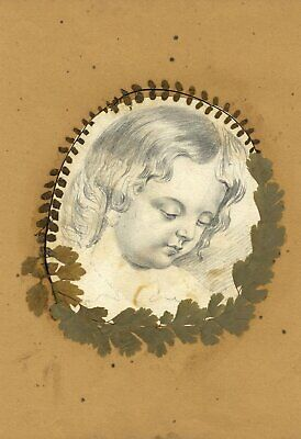 Victorian Child Portrait with Pressed Leaves - 19th-century graphite drawing
