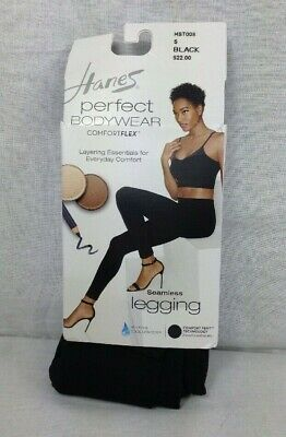 ad0a0a7aa0d3b6 Hanes Perfect Bodywear Seamless Legging with ComfortFlex Waistband Black  Size Sm