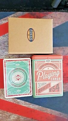 Fossil Brand Playing Cards In Metal Storage Tin New Sealed