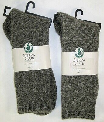 2 pair mens SIERRA CLUB thick Boot Outdoor SOCKS Gray sz 10-13 WOOL blend New