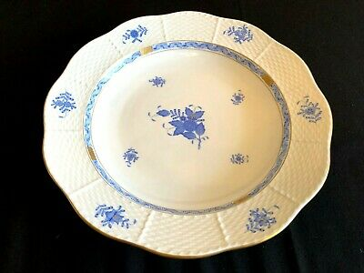 Herend Porcelain Chinese Bouquet Blue Large Round Serving Tray 162/Ab