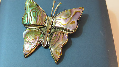 Vintage Silver Alpaca Mexico Abalone Shell inlay Butterfly Brooch Papillon Fb 3
