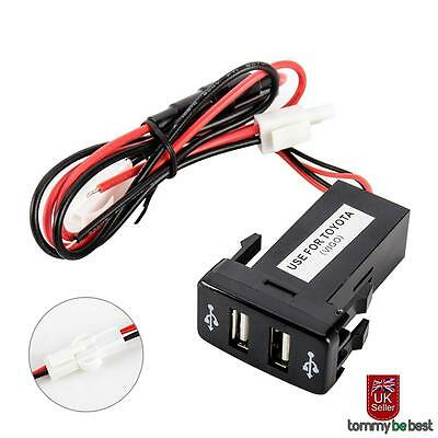 Double Dual 2 USB Port 12V In Car Socket Lighter Charger Adapter for Toyota New