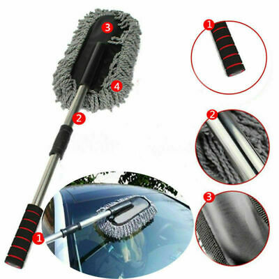 Telescoping Car Cleaning Brush Duster Window Cleaner Dust Wax Wash Mop Tool Grey