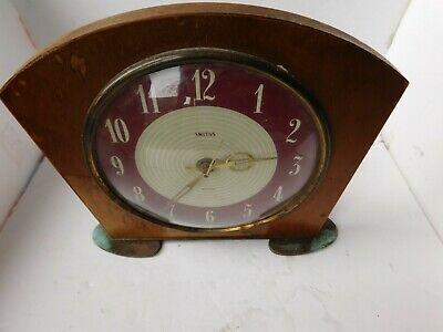 VINTAGE 1960s SMITHS SECTRIC ELECTRIC MID CENTURY DESIGN WOOD MANTEL CLOCK