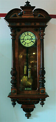 Vienna Walnut Cased Regulator Wall Clock (flanking half columbs) Gong Striking.