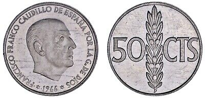 50 CENTS - 50 CÉNTIMOS. Al. FRANCO. ESTADO ESPAÑOL.1966*74. PROOF.