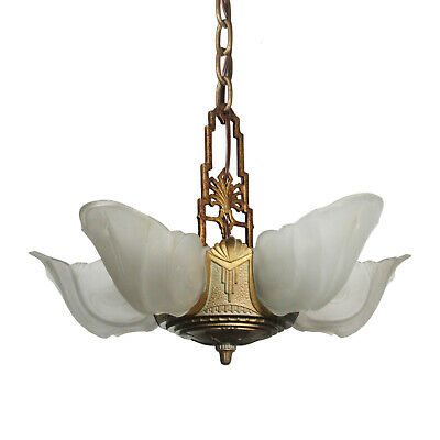 "Antique Five-Light Art Deco Slip Shade Chandelier, ""Warwick"" Design, NC3409"