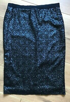 ae7da89e3 M&S dark blue sequinned pencil skirt velvet elastic waistband pull on 12