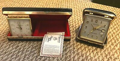 TWO Vintage Phinney Walker Folding Travel Alarm Clock Luminous, Wind Up, Germany
