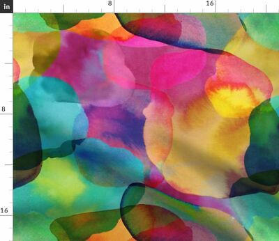 Watercolor Abstract Paint Drops Colorful Fabric Printed by Spoonflower BTY
