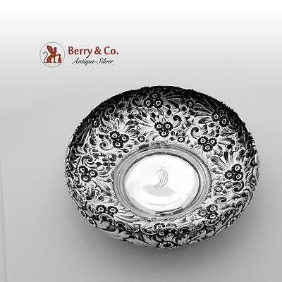 Ornate Floral Repousse Serving Bowl Sterling Silver Whiting 1900