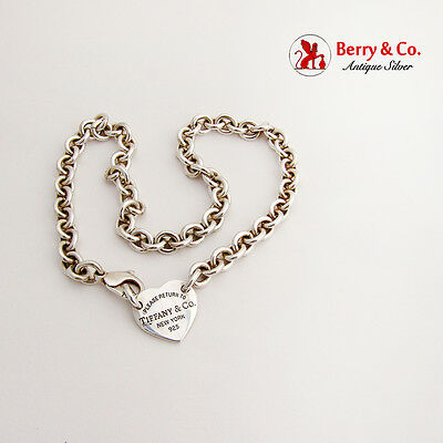 Tiffany Co Heavy Link Chain Please Return To Heart Charm Sterling Silver