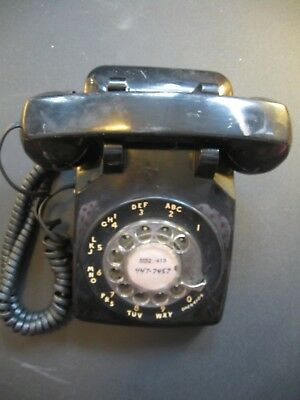 Vintage Bell System Property Western Electric  Black Rotary Dial Phone A/B 502