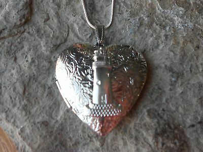 Lighthouse Silver Plated Heart Locket -  Vacation, Cruise, Unique, Handmade