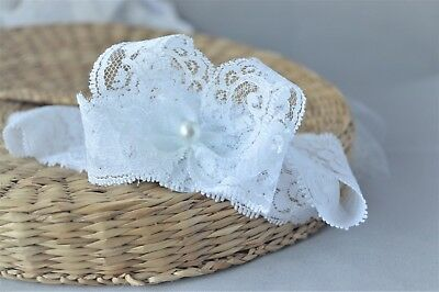 Newborn Lace baby bow hair band for christening Handmade white headband by FDH